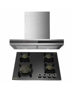 Hafele Chimney And Hob Combo STAINLESS STEEL + BLACK GLASS COMBO 44