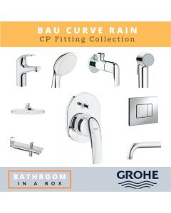 Grohe CP Fittings Bundle Baucurve Series Chrome Finish with 8 Inches Rain Shower GRO 004