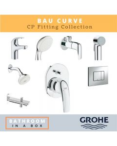 Grohe CP Fittings Bundle Baucurve Series Chrome Finish with 4 Inches Regular Shower GRO 003