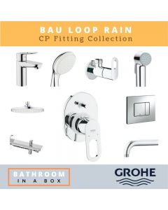Grohe CP Fittings Bundle Bauloop Series Chrome Finish with 8 Inches Rain Shower GRO 008