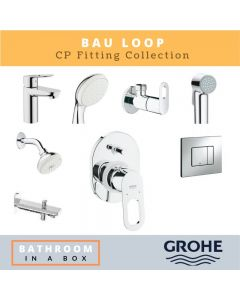 Grohe CP Fittings Bundle Bauloop Series Chrome Finish with 4 Inches Regular Shower GRO 007