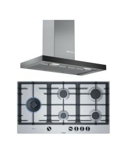 Bosch Chimney And Hob Combo STAINLESS STEEL + BLACK GLASS COMBO 30
