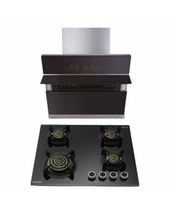 Hafele Chimney And Hob Combo STAINLESS STEEL + BLACK GLASS COMBO 42
