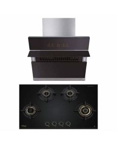 Hafele Chimney And Hob Combo STAINLESS STEEL + BLACK GLASS COMBO 41