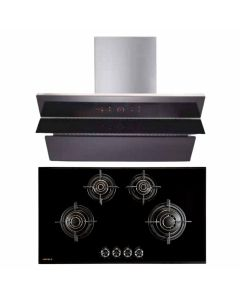 Hafele Chimney And Hob Combo STAINLESS STEEL + BLACK GLASS COMBO 40