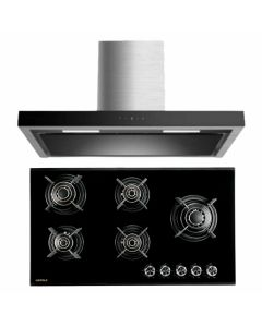 Hafele Chimney And Hob Combo STAINLESS STEEL + BLACK GLASS COMBO 46
